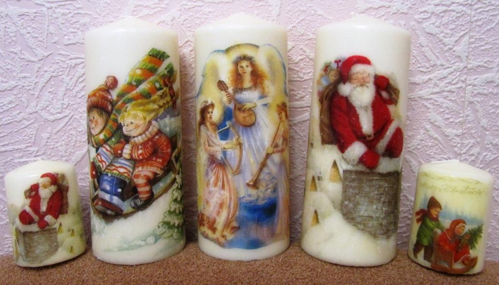 Новогодняя свеча своими руками декупаж