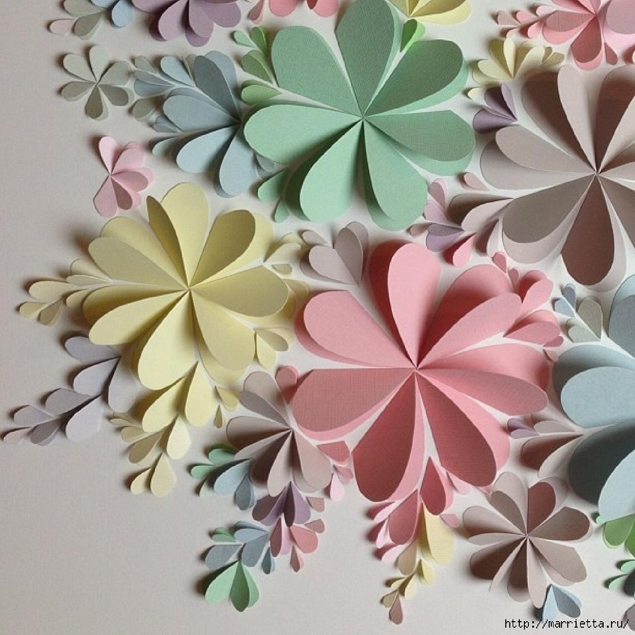 Панно из бумажных цветов своими руками